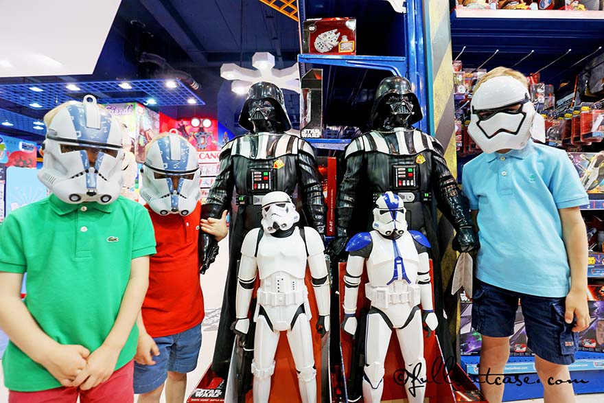 Children wearing masks at a Star Wars Stand at a toy store in Dubai mall