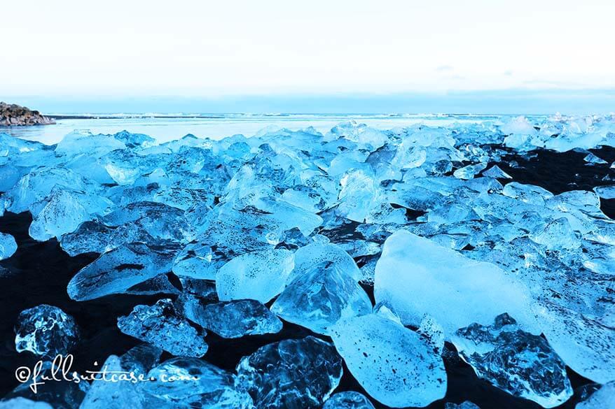 Amazing ice creations on Jokulsarlon beach in Iceland
