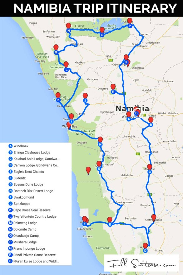 Complete Namibia trip itinerary map