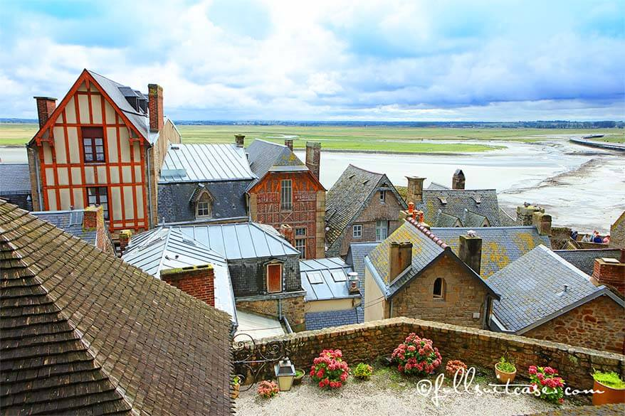 The rooftops and ramparts of Mont Saint Michel