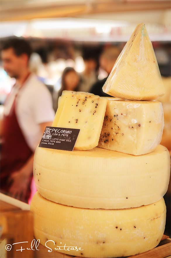 Italian Pecorino cheese for sale at Campo de Fiori market in Rome