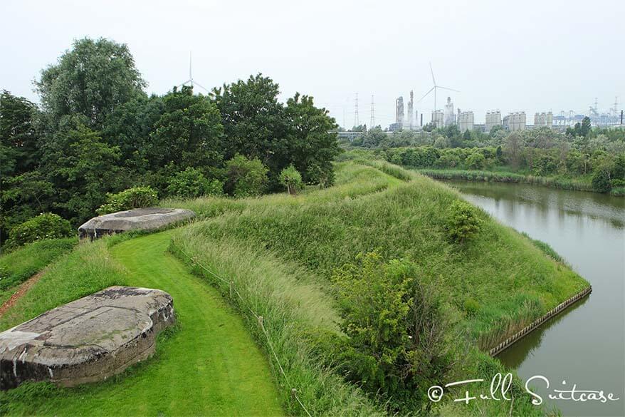 WWI bunkers at fort Liefkenshoek near Antwerp Belgium