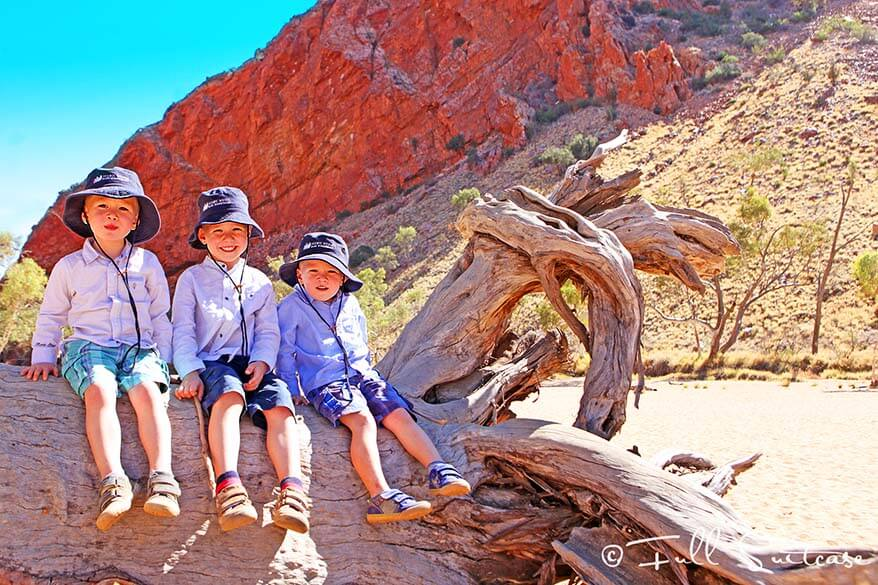 Kids at Simpsons Gap West MacDonnell Ranges Australia