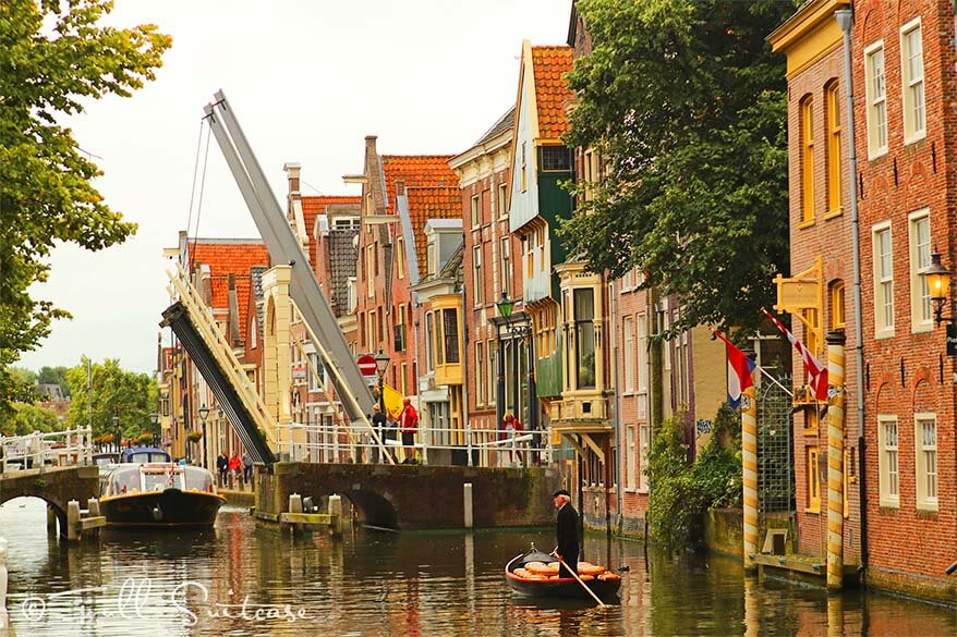 Alkmaar canals and a traditional boat filled with cheese