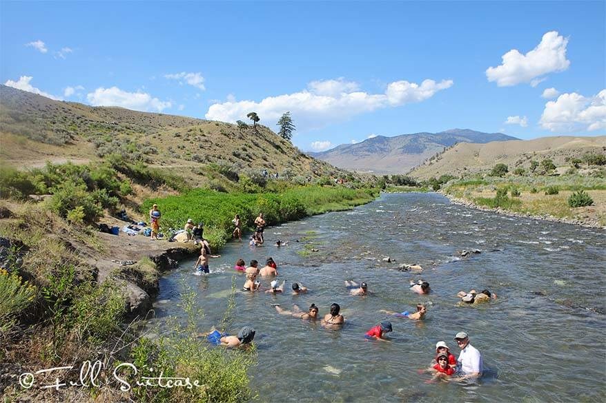 Swimming in the Boiling River in Yellowstone