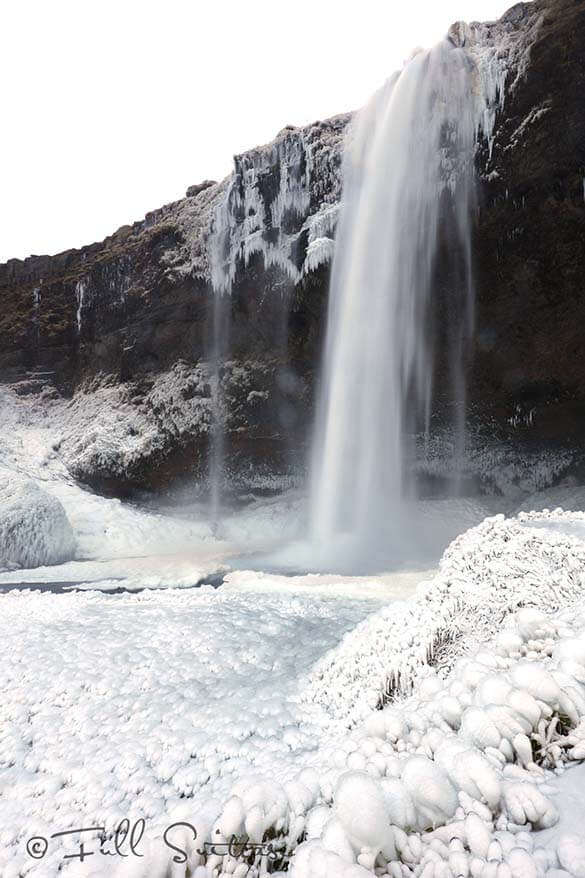 Seljalandsfoss waterfall in winter