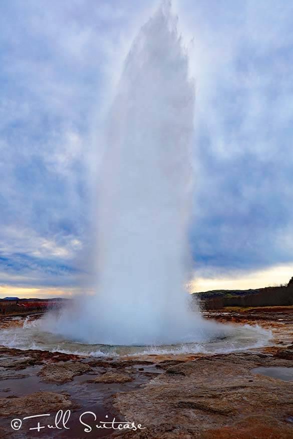Strokkur geyser. Golden Circle Iceland