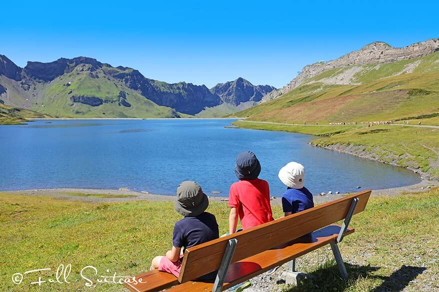 Family hiking the Four Lakes Trail - Tannensee in Switzerland
