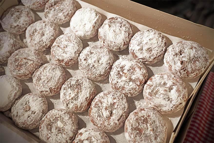Belgian holiday sweets 'snow balls' at a Christmas market