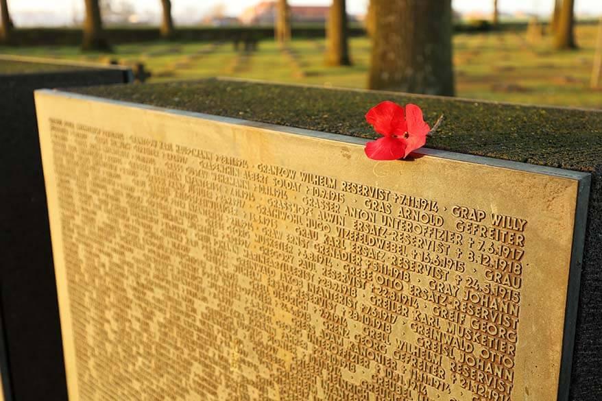 Langemark German War Cemetery Soldier Names