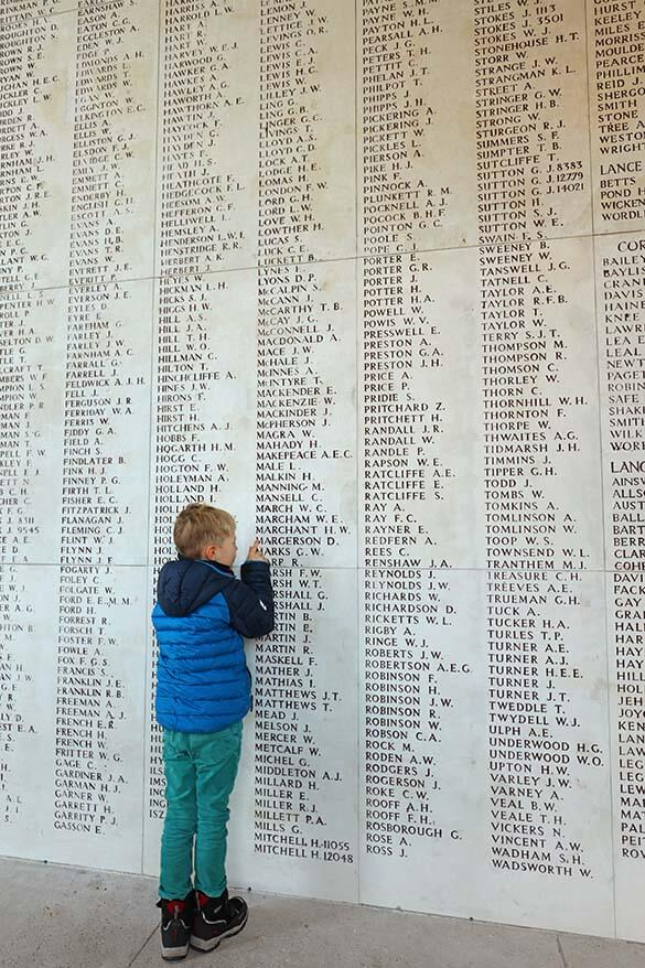 Thousands of names of the soldiers on the Menin Gate Wall in Ypres