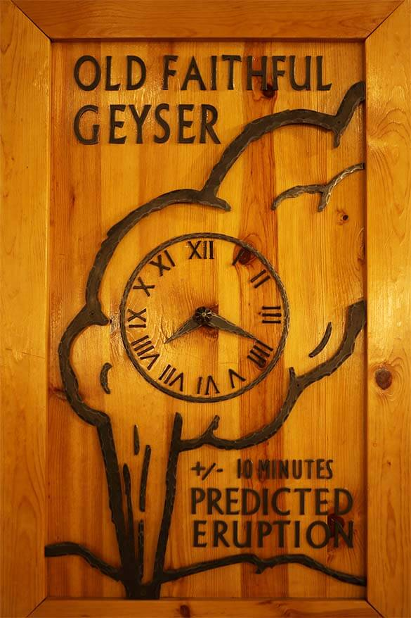 Old Faithful Geyser prediction clock at OF Inn