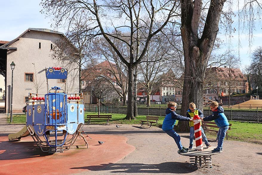Kids at a playground at La Petit France in Strasbourg