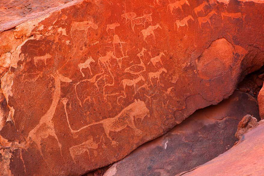 Ancient Bushmen rock art at the Twyfelfontein UNSECO World Heritage Site in Namibia