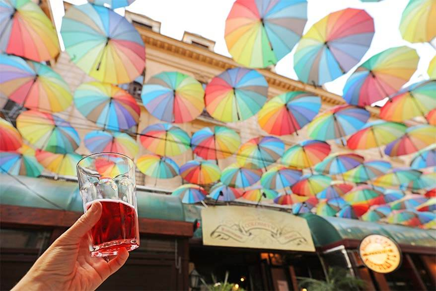 Colourful umbrellas of Pasajul Victoria in Bucharest