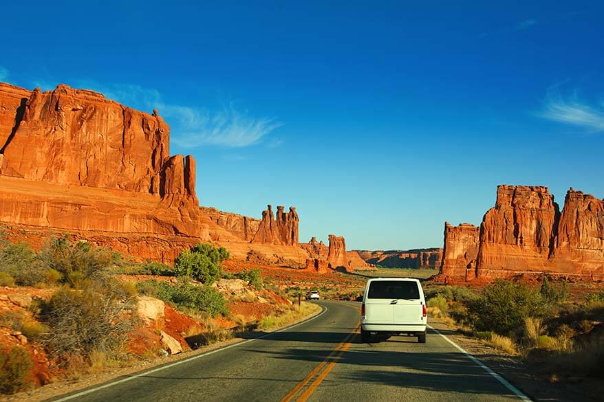 Scenic drive of Arches National Park in Utah