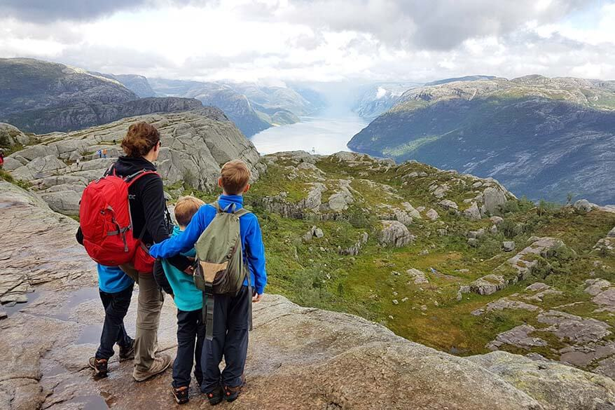 Admiring the stunning views over Lysefjord on the hike to the Pulpit Rock