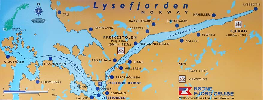Lysefjord cruise and Pulpit Rock hike trip map