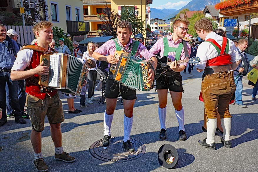 Traditional Austrian band playing music during the Almabtrieb cattle drive in Tyrol