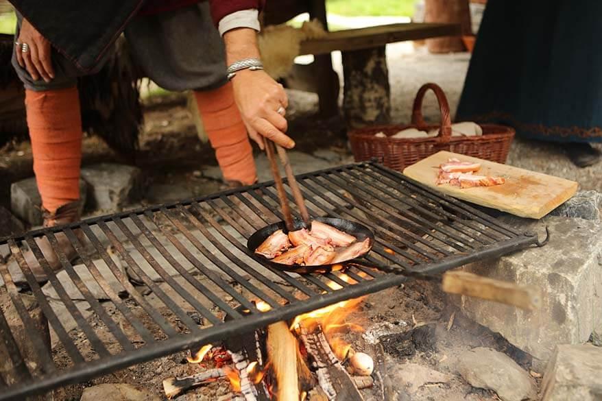 Vikings preparing lunch at Njardarheimr Viking Valley