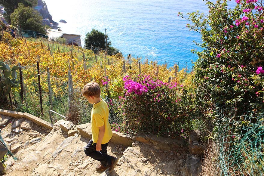Hiking the Cinque Terre trail with kids