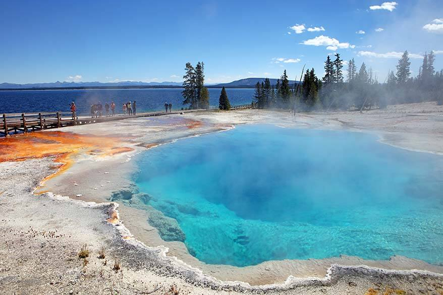 Colorful thermal features of the West Thumb Geyser Basin in Yellowstone