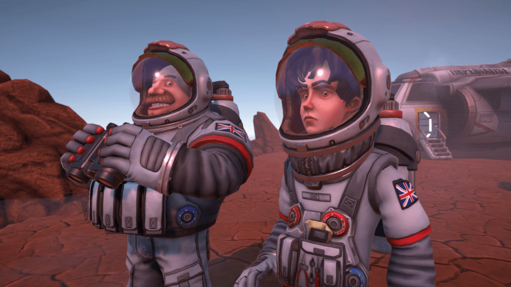 Her Majesty's Spiffing gameplay showing two characters in space outfits