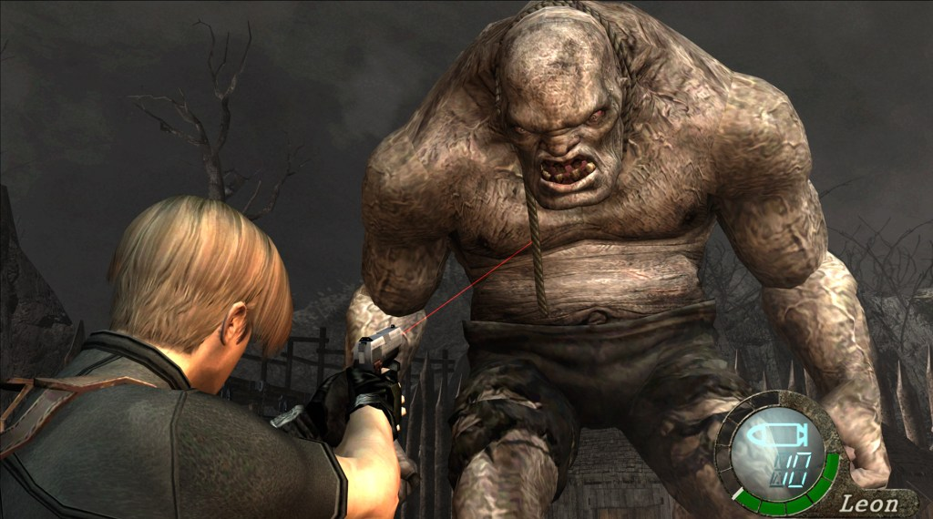 Gameplay footage showing Leon Kennedy fighting off El Gigante in Resident Evil 4