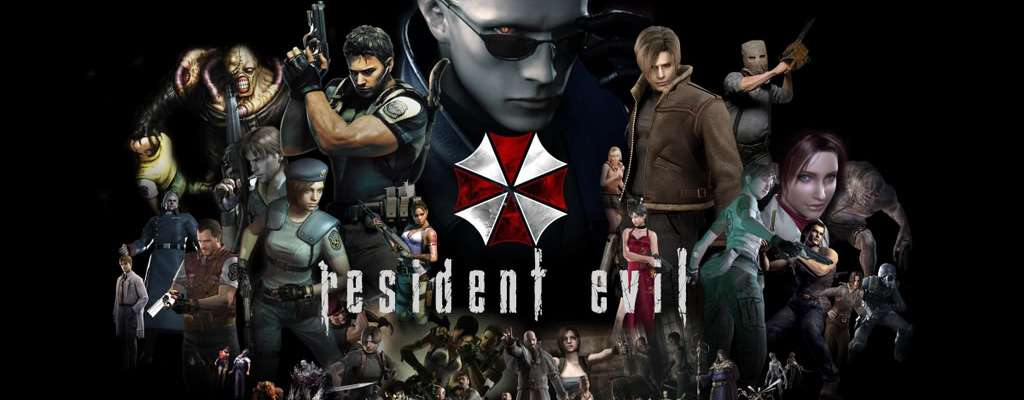 Resident Evil logo with characters from throughout the game's franchise
