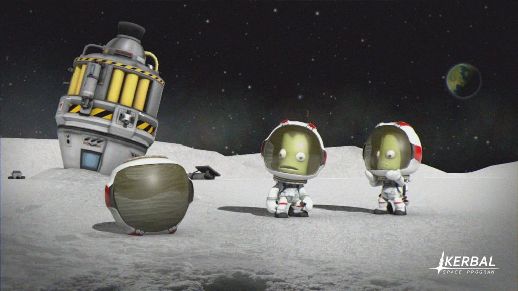 Kerbal Space Program artwork showing aliens in space with their rocket crashed upside down
