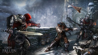 Lords of the Fallen artwork showing three people battling outside a snowy castle