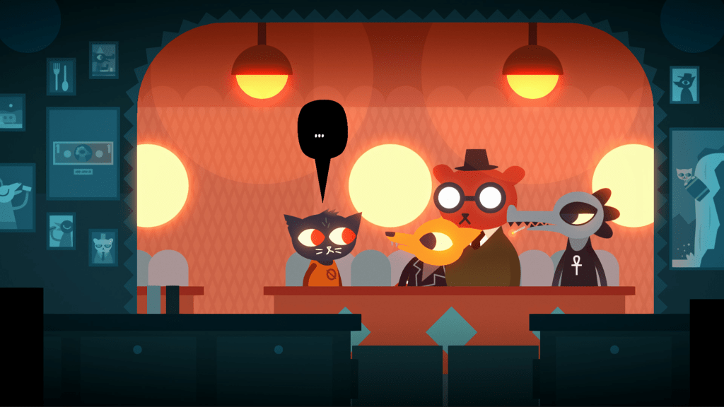 Night in the Woods gameplay showing a cat talking to some other characters