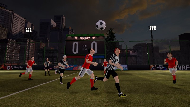 Players in VRFC chasing the ball as it flies through the air.