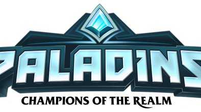 Paladins logo with a black tag line saying Champions of the Realm