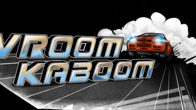 Vroom Kaboom logo on a black background