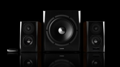 Edifier S350DB speakers on a black background