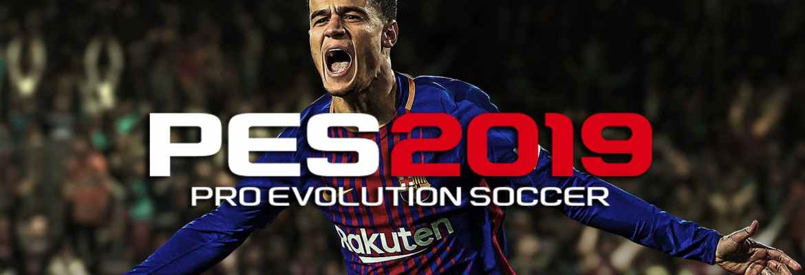 PES 2019 logo with Phillipe Coutinho in the background celebrating