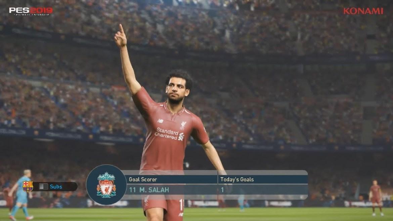 PES 2019 Salah celebrating after scoring