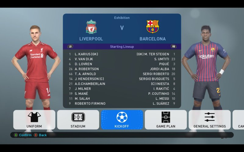 PES 2019 Team Selection Screen with Liverpool vs Barcelona