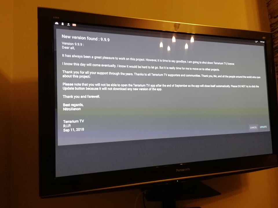 TV showing the RIP message from Terrarium TV