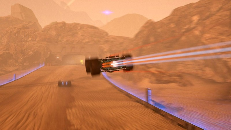 GRIP Combat Racing clip showing a car flying through the sky with an opponent further up a dirt track