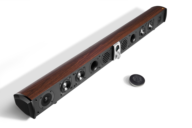 A side view of the S50DB soundbar with the speaker covers off