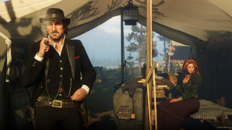 Read Dead Redemption II smoking in a tent