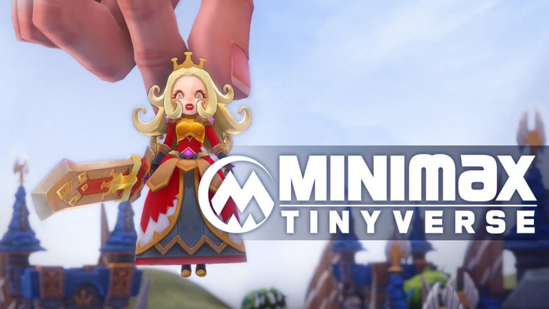 MINImax Tinyverse logo also showing a hand holding up a princess by pinching its fingers together