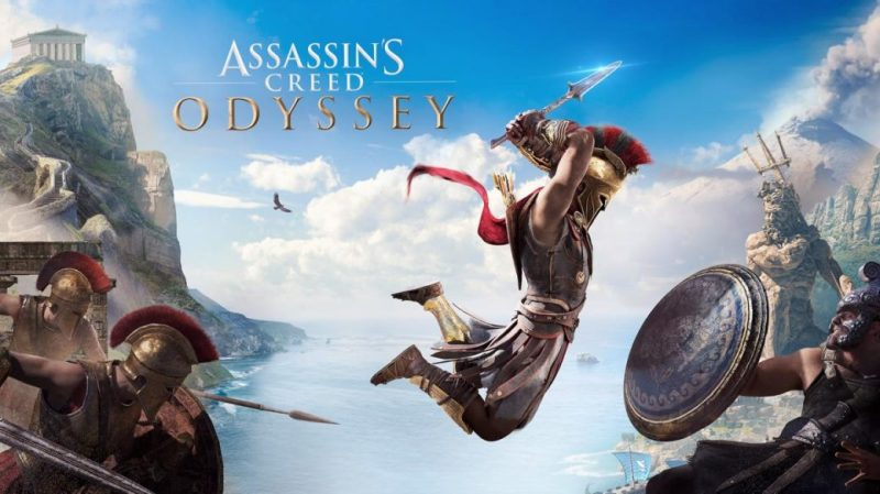 Assassin's Creed Odyssey logo with greek soldier leaping at enemy with sword in hand