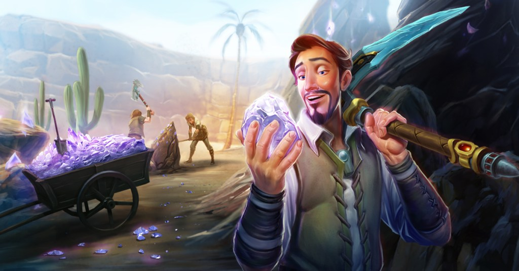 Artwork showing a miner holding Ore in one hand and a pick axe in another for RuneScape