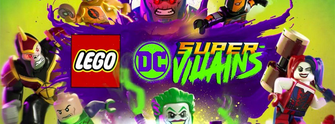 LEGO DC Super Villains logo with super villains in the background