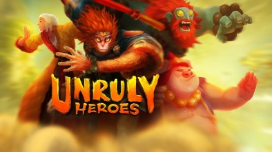 Unruly Heroes logo with the game's four main characters in the background