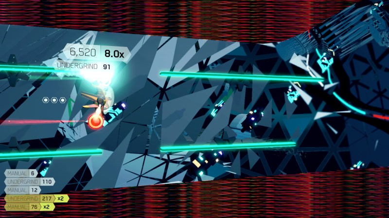 Gameplay from FutureGrind showing a bike undergrinding
