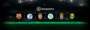 PES eFootball.Pro logo with team badges of those teams in the tournament